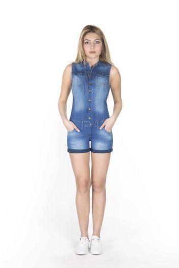 Синий Белыйженский джинсовый комбинезон короткий - Thumbnail