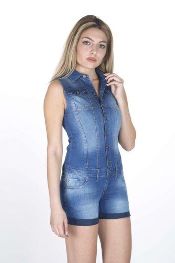 BLUE WHITE - Синий Белыйженский джинсовый комбинезон короткий (1)