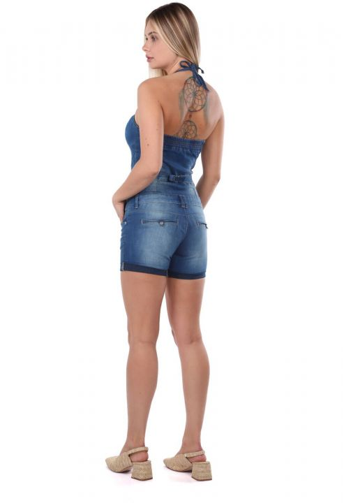 Blue White Women's Jean Jumpsuit Short
