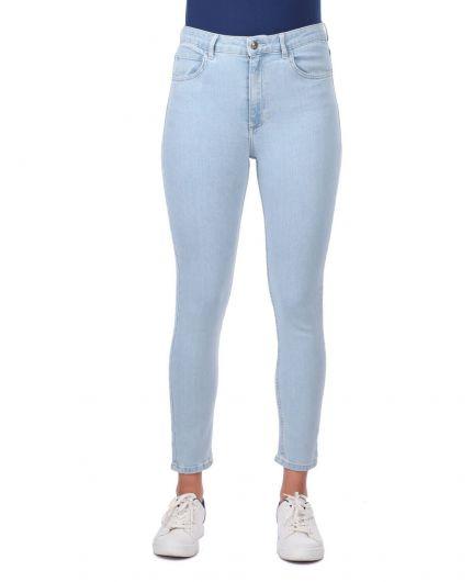 بنطلون جينز أزرق فاتح نسائي ضيق باللون الأزرق والأبيض - Thumbnail
