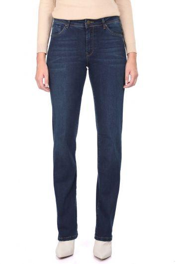 Blue White Women's Long Straight Leg Jean Trousers - Thumbnail