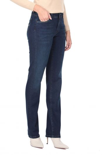 BLUE WHITE - Blue White Women's Long Straight Leg Jean Trousers (1)