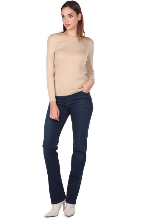 Blue White Women's Long Straight Leg Jean Trousers