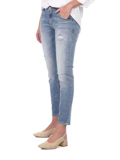 BLUE WHITE - Blue White Women's Low Waist Ripped Jeans (1)
