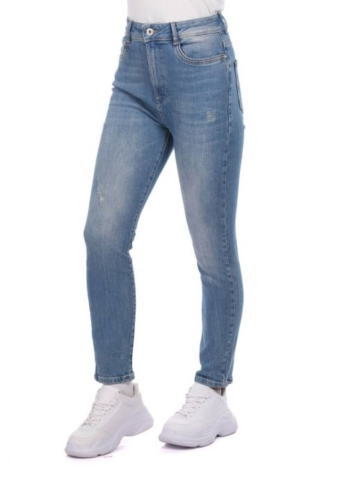 Blue White Women's Mid Waist Jean Trousers