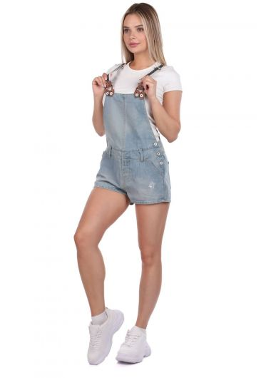 BLUE WHITE - Blue White Women's Mini Jean Jumpsuit Shorts (1)