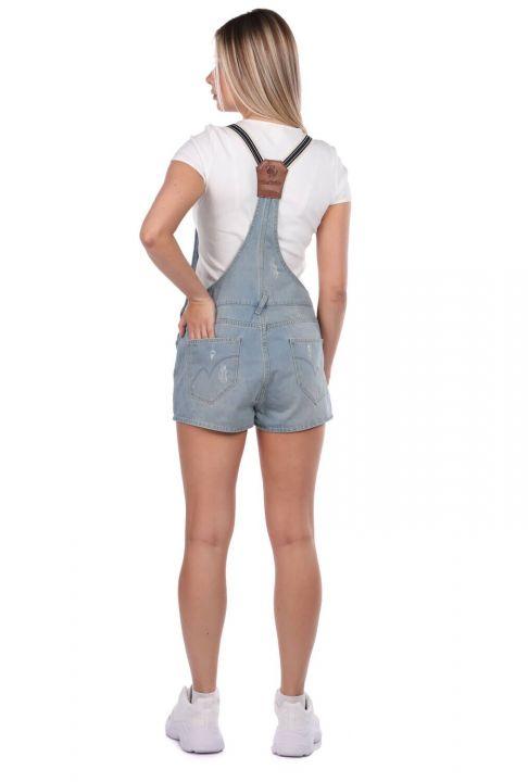 Синий-белый женский мини-джинсовый комбинезон с шортами