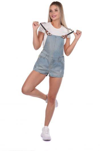 Синий-белый женский мини-джинсовый комбинезон с шортами - Thumbnail