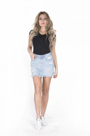 BLUE WHITE - Сине-белая женская мини-джинсовая юбка (1)