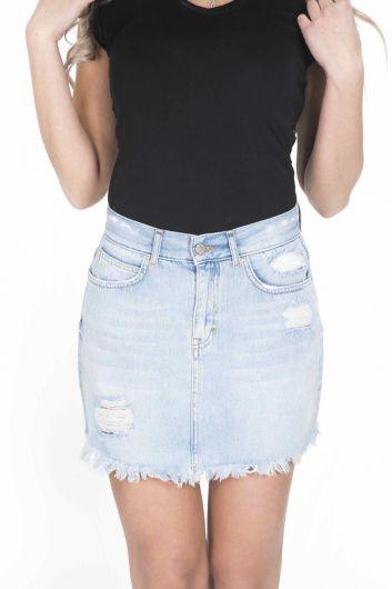 Сине-белая женская мини-джинсовая юбка - Thumbnail