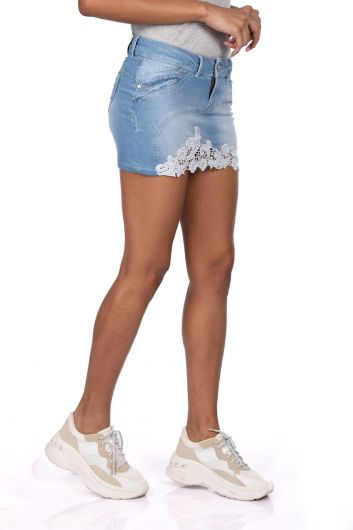 BLUE WHITE - Blue White Floral Mini Jean Skirt (1)