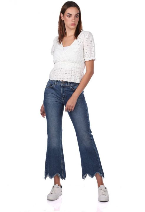 Blue White Women Mom Fit Jeans