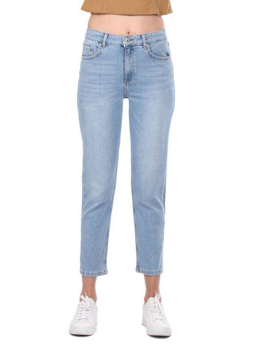 Blue White Women's Mom Jean Trousers