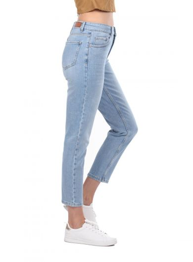 BLUE WHITE - Blue White Women's Mom Jean Trousers (1)