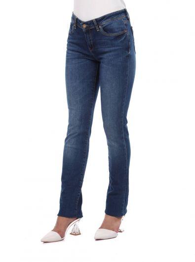 BLUE WHITE - بنطلون جينز أزرق أبيض نسائي أزرق كحلي (1)