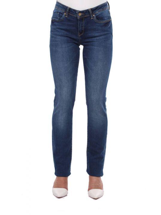 Blue White Women Navy Blue Jean Trousers