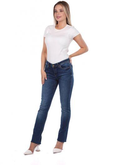 Blue White Women Navy Blue Jean Trousers - Thumbnail