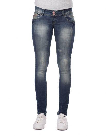 بنطلون جينز أزرق أبيض نسائي بجيب مفصل - Thumbnail