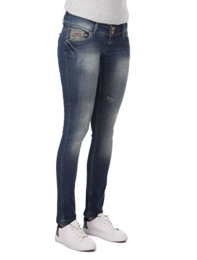 BLUE WHITE - Blue White Women's Pocket Detailed Jean Trousers (1)