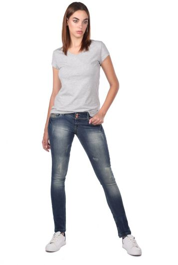 Blue White Women's Pocket Detailed Jean Trousers - Thumbnail