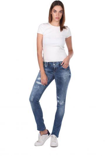 Blue White Ripped Detailed Women's Jean Trousers - Thumbnail