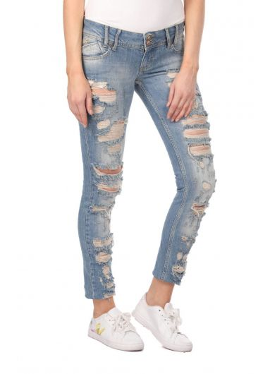 BLUE WHITE - Blue White Ripped Plus Size Women Jean Trousers (1)