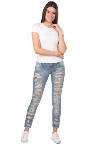 Blue White Ripped Plus Size Women Jean Trousers  - Thumbnail