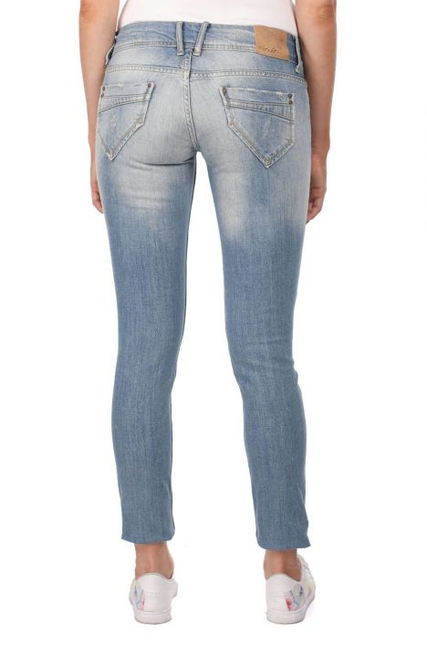Blue White Ripped Plus Size Women Jean Trousers