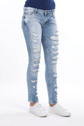 BLUE WHITE - Blue White Ripped Open Women Jean Trousers (1)