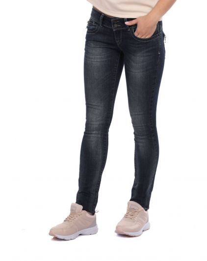 BLUE WHITE - Blue White Back Pocket Zipper Women Jean Trousers (1)