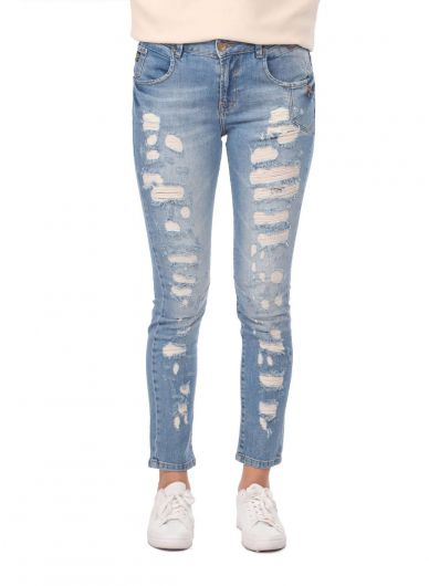 Blue White Button Ripped Women Jean Trousers - Thumbnail