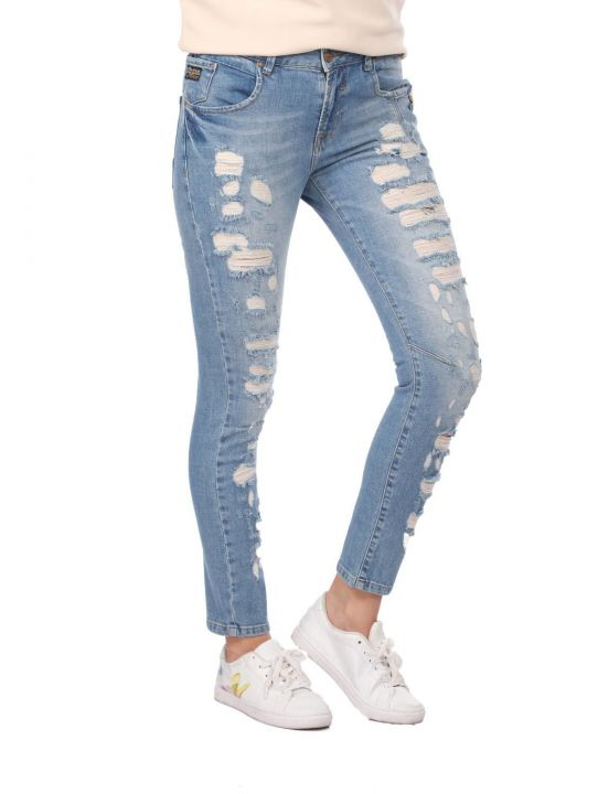 Blue White Button Ripped Women Jean Trousers