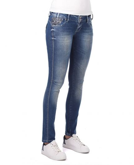BLUE WHITE - Blue White Striped Women Jean Trousers (1)