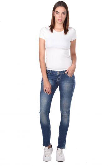 Blue White Striped Women Jeans - Thumbnail