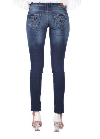 Синие белые женские джинсовые брюки с карманом и узором - Thumbnail