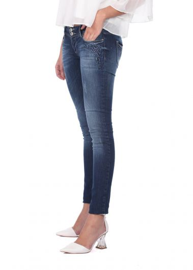 BLUE WHITE - Blue White Pocket Patterned Women's Jean Trousers (1)