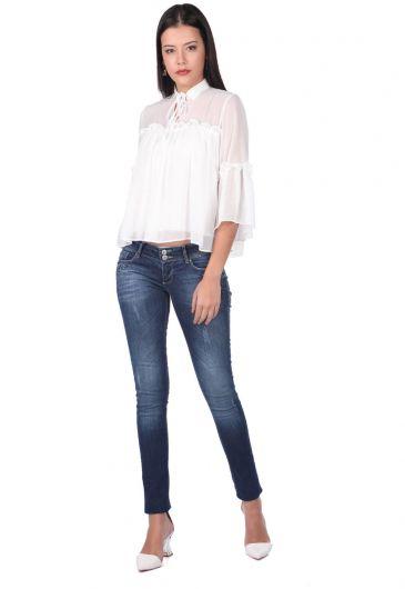 Blue White Pocket Patterned Women's Jean Trousers - Thumbnail