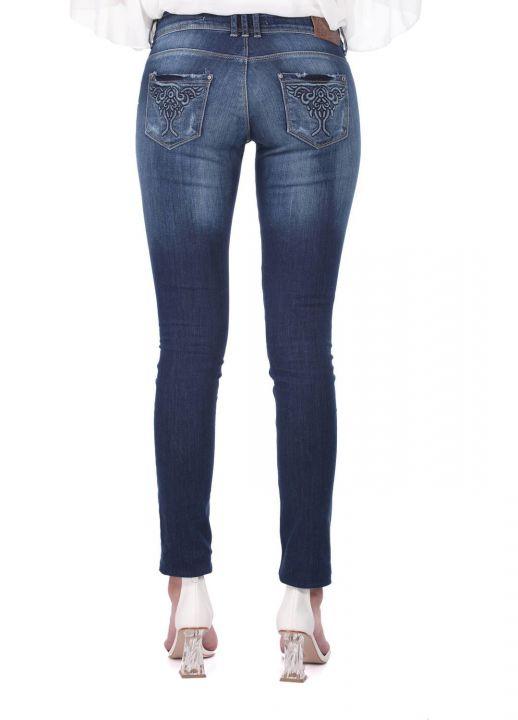 Blue White Pocket Patterned Women's Jean Trousers