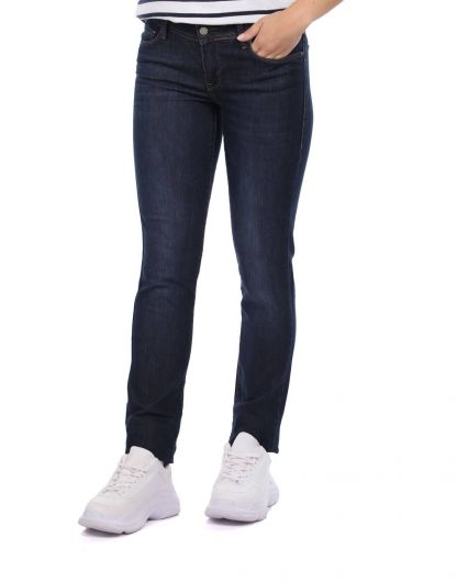 BLUE WHITE - Regular Fit Women's Dark Jean Trousers (1)