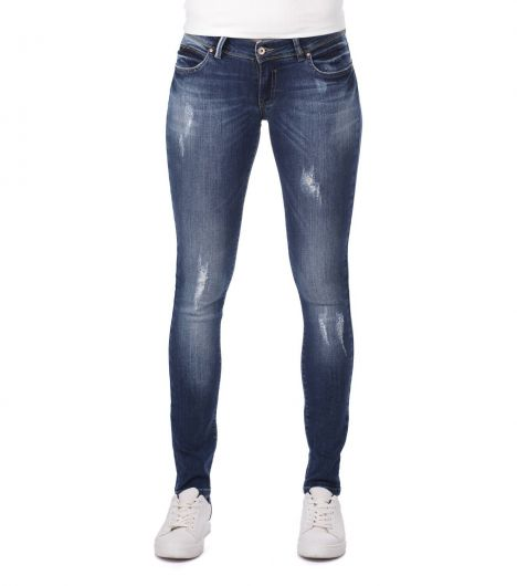 Blue White Low Waist Ripped Detailed Women's Jean Trousers - Thumbnail