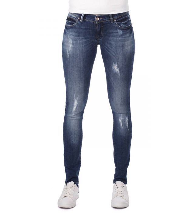 Blue White Low Waist Ripped Detailed Women's Jean Trousers