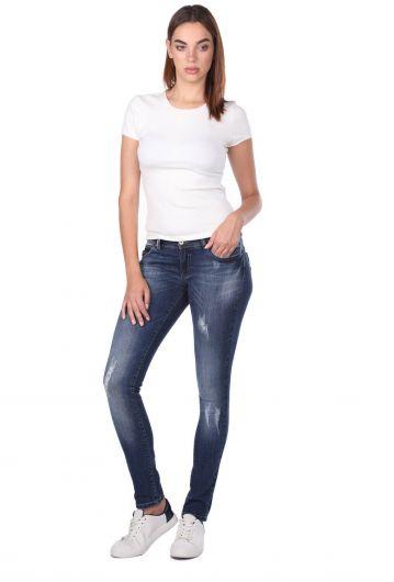 Blue White Low Waist Ripped DetailedWomen's Jean Trousers - Thumbnail