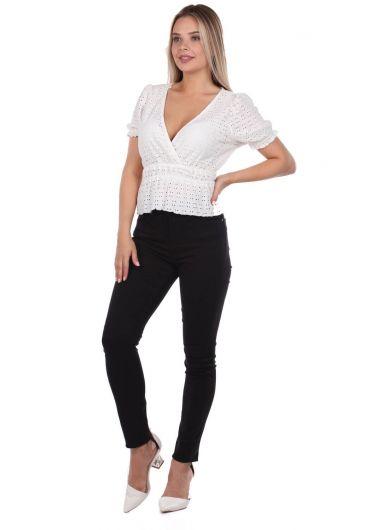 Blue White High Waist WomenJean Trousers - Thumbnail