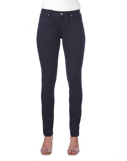 BLUE WHITE - Синие белые женскиеджинсовые брюки свысокой талией (1)