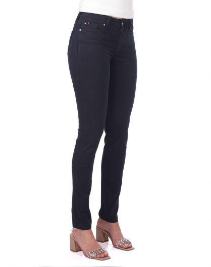 Синие белые женскиеджинсовые брюки свысокой талией - Thumbnail
