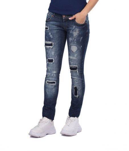 BLUE WHITE - Blue White Ripped Patterned Women's Jean Trousers (1)