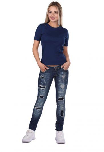 Blue White Ripped Patterned Women's Jean Trousers - Thumbnail