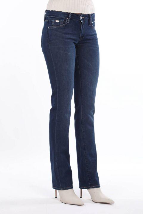 بنطلون جينز نسائي أزرق أبيض بخصر منخفض