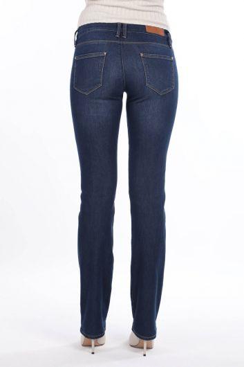 Синие белые женские джинсовые брюки с низкой талией и карманами - Thumbnail