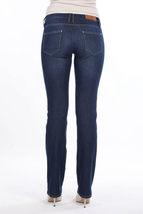 Синие белые женские джинсовые брюки с низкой талией и карманами